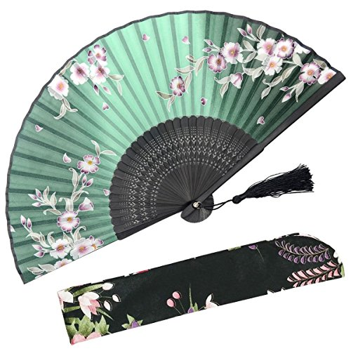 OMyTea Hand Held Silk Folding Fans with Bamboo Frame - with a Fabric Sleeve for Protection for Gifts - 100% Handmade Oriental Chinese/Japanese Vintage Retro Style - for Women Ladys Girls (Green)