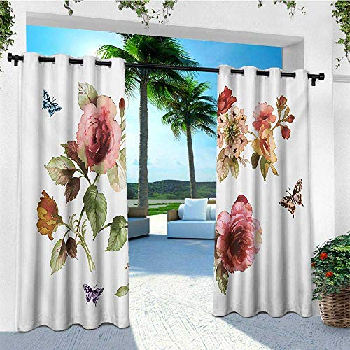 - leinuoyi Flower, Outdoor Curtain Extra Wide, Shabby Chic Roses Buds Leaves Tulips Floral Details Butterfly Natural Eco Print, Outdoor Privacy Porch Curtains W120 x L108 Inch Multicolor