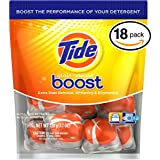(PACK OF 18 PODS) Tide BOOST Laundry Detergent PODS. High Efficiency & Non-High Efficiency. EXTRA BOOST OF Detergent + Stain Remove + Brightener! All Temperatures. (18 Pods in Each Package)
