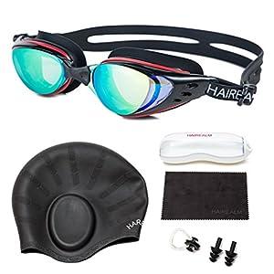 HAIREALM Swiming goggles,Optical Prescription Swimming Goggles(Myopia 0-8.0 Diopters),Corrective Nearsighted swim goggles+Swimming caps+Nose Clip+Ear Plugs (Black -2)