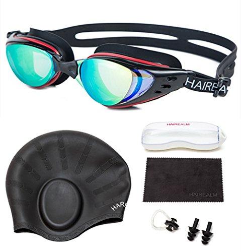 Silicone Swimming Cap Hair Protector Ear Wrap Waterproof Hat Black - 2