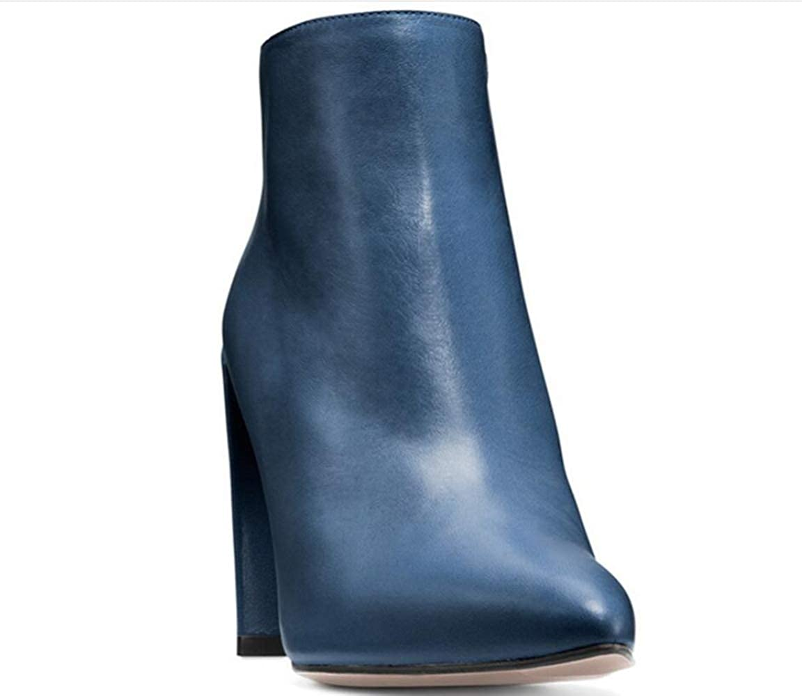 Shiney Women's Boots Pointed Toe Fashion High-Heels Chunky Heel Artificial PU Casual Blue Black Apricot Blue