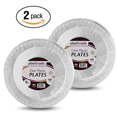 Plastimade Clear Plastic Plates 9 Inch Pack of 80