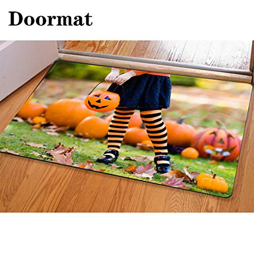 3D Printing and Dyeing,Bathroom Carpet, Door mat,Little Girl in Witch Costume on Halloween Trick or Treat Flannel Foam Shower mat, Absorbent Kitchen Door Carpet ()