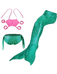 Big Girl's Mermaid Tail Set Swimmable Tankinis Bathing Suit Pool Party Wearing 5T