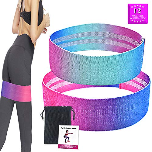 CABEPOW Resistance Exercise Bands for Legs and Butt, Fabric Soft Non Slip Workout Hip Bands for Women & Man,Perfect Resistance Loop Bands for Legs and Butt/Squat/Glute/Hip/Thigh Workout.(2019 Upgrade)