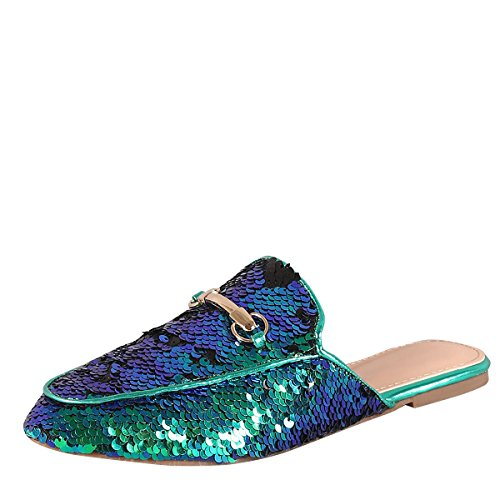 Bella Marie Womens Almond Toe Sequin Horsebit Slip On Slide Oxford Loafer Mules Flat Slipper Shoes 7.5 Mermaid - Horsebit Green