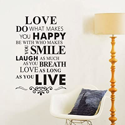 """""""Love Do What Makes You Happy"""" House Rule Quotes and Sayings Removable Wall Stickers Home Decor Decals For Living Room Bedroom"""