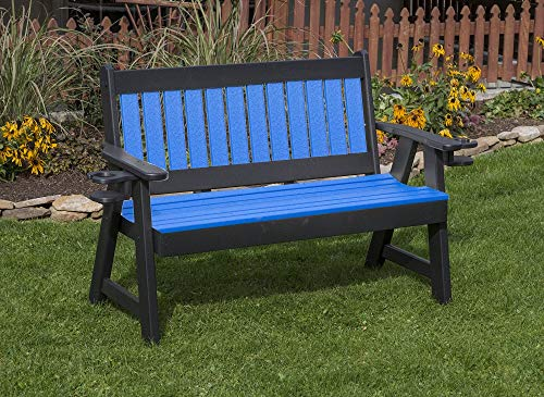 - Jur_Global All Weather Furniture Outdoor Patio Garden Lawn Exterior Blue Finish 4Ft-Poly Lumber Mission Porch Bench with Cupholder Arms