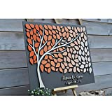 Personalized Wedding Guest Book Alternative Wood, 3D Guest Book Tree,Custom Wedding Gifts For Guests,Love Birds Guestbook Heart