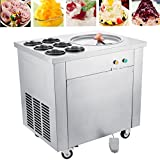 Happybuy Single Pan Commercial Ice Roll Maker 740W Fried Yogurt Cream Machine Perfect for Bars/Cafes/Dessert Shops, 13.7' Diameter