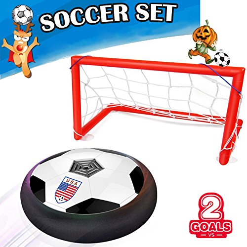 Flashing Soccer Ball (Kids Air Power Soccer Goal Gate Set,AMENON Boys Girls Sport Toys Training Football Indoor Outdoor Disk Hover Ball Game with LED Light Up Toys Children Festival and Birthday Gift)