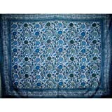 India Arts Indian Bedspread ? Cotton Sunflower Print,Blue-Gray,70'' x 106''