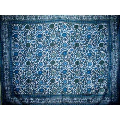 India Arts Indian Bedspread ? Cotton Sunflower Print,Blue-Gray,70'' x 106''