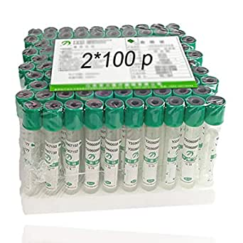 Green Top Tube 100pcs Plastic Vacuum BLD Collection Tubes 3mL He-parin NA Tubes 12 x 75mm