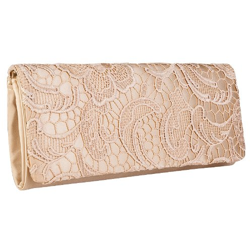 Evening Small Bag Clutch Gold Lace Handbag Bridal Ladies Party Satin Floral Womens zwxqp0fnn