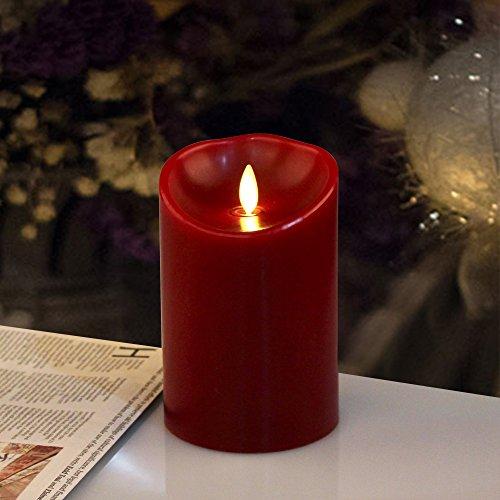 "Luminara Cinnamon Scented burgundy Pillar Candle 5"""