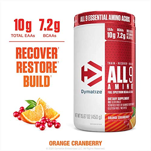 Dymatize All9 Amino, 7.2g of BCAAs, 10g of Full Spectrum Essential Amino Acids Per Serving for Recovery and Optimal Muscle Protein Synthesis, Orange Cranberry, 30 Servings, 15.87 Ounce