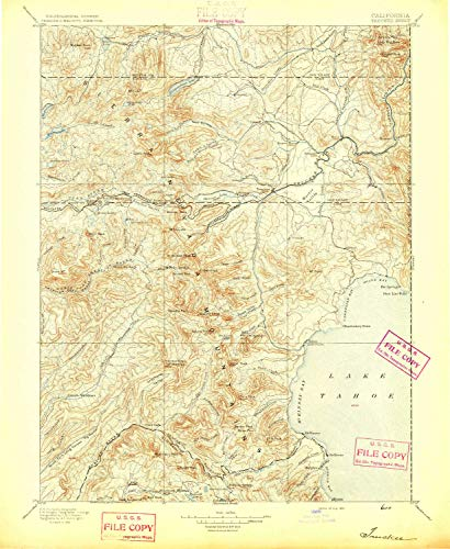 (YellowMaps Truckee CA topo map, 1:125000 Scale, 30 X 30 Minute, Historical, 1895, 20.2 x 16.5 in - Paper)