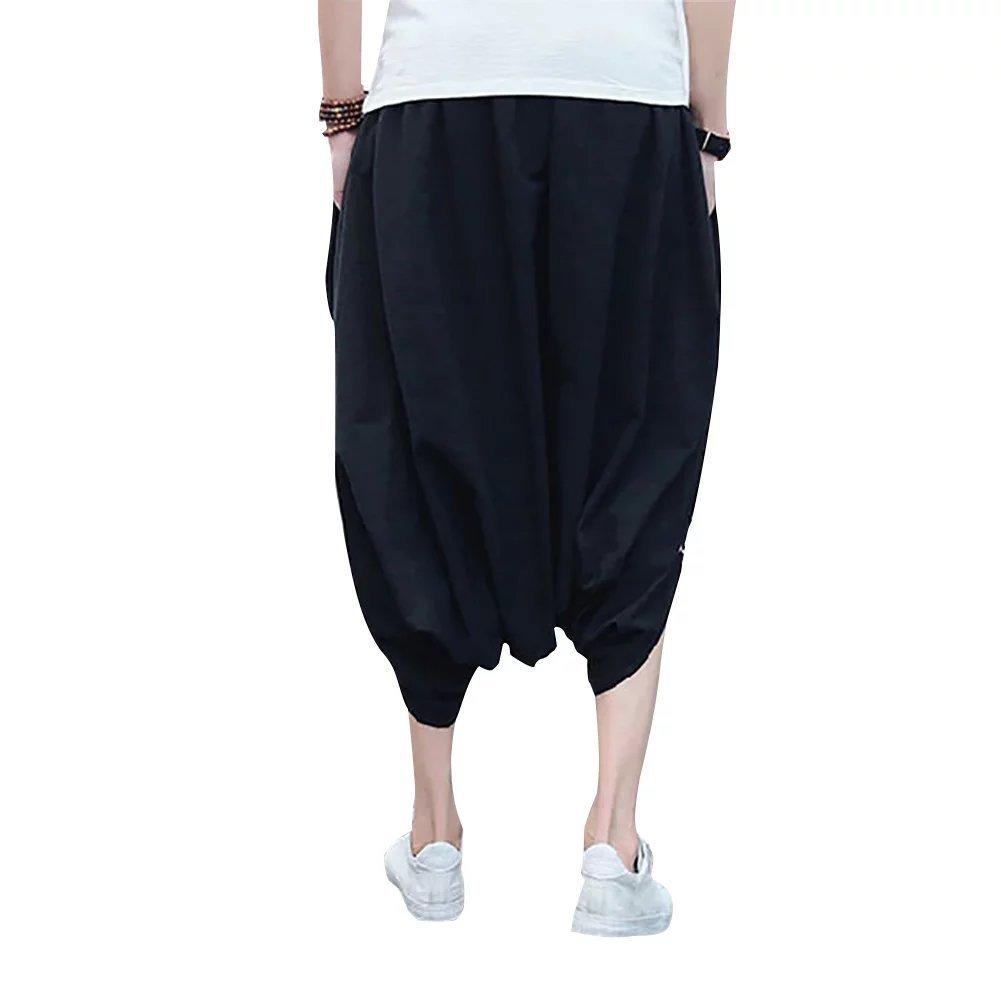 SITENG Mens Elastic Waist Cotton Capris short Baggy Harem Joggers Shorts Pants