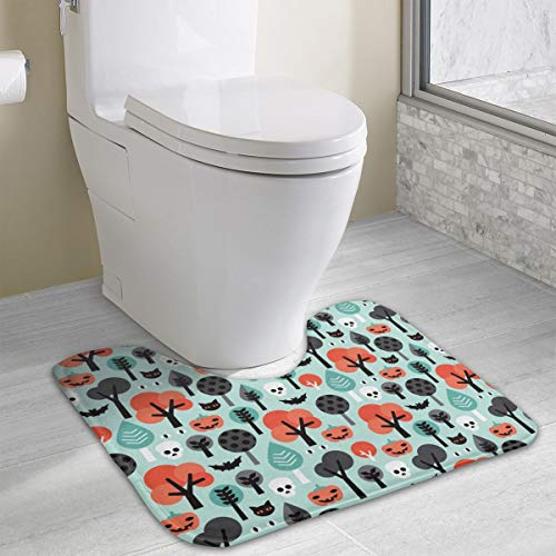 Crazy Halloween Pumpkin Cat and Skull Illustration Pattern_9869 Bath Mats, Bathroom Carpet Rug Non Slip Toilet mat 19.3x15.8 -