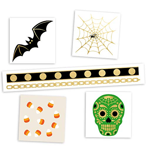 HOCUS POCUS VARIETY SET of 25 assorted Flash Tattoos spooky-inspired premium waterproof metallic gold & silver jewelry temporary foil party tattoos - Party Supplies, gold tattoo, spider web -
