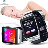 Indigi® UNLOCKED! 2-in-1 SIM-Card + Bluetooth 2-in-1 interconvertible Smart Watch Phone For All Android OS Smartphone & iPhone iOS (Silver)