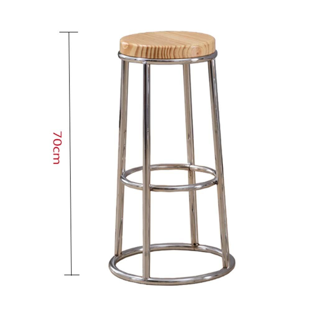 Wood 70cm A WEIYV-Barstools,bar Chair Solid Wood bar Stool Modern Minimalist Wrought Iron bar Stool Round bar American bar Stool high Stool Personality Family seat American bar Stool