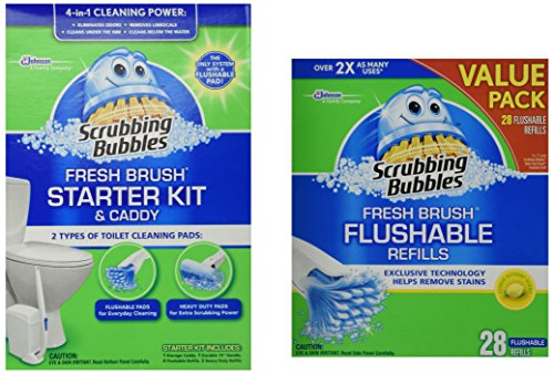 Scrubbing Bubbles Fresh BRUSH Max Starter Kit and Scrubbing Bubbles Toilet Fresh Brush 28 ct Flushable Biodegradable Refills Bundle 2 Items