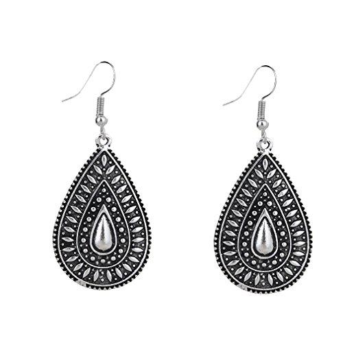 Yazilind Jewelry Vintage Alloy Tear Drop Earrings for Women Girls