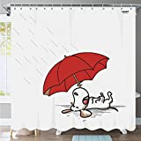 InGwest Home. Water-Repellent Antibacterial and Mildew Resistant 72x72 inch (182x182 cm) Fabric Shower Curtain with Funny Dog. Eco-friendly. No chemical odors. Present Box.