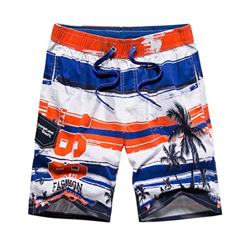 Pengy Men Hawaii Trunks Colortful Striped Beach Board Shorts with Lining Males Casual Wide Beach Casual Short Trouser Pants Blue
