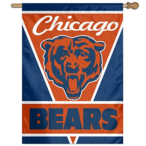 Sorcerer Custom Colorful Wall Flag American Football Team Chicago Bears Outdoor House Yard Garden Flag Polyester Indoor Banner for Wedding Party Decor 27x37 Inch