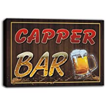 scw3-021983 CAPPER Name Home Bar Pub Beer Mugs Stretched Canvas Print Sign