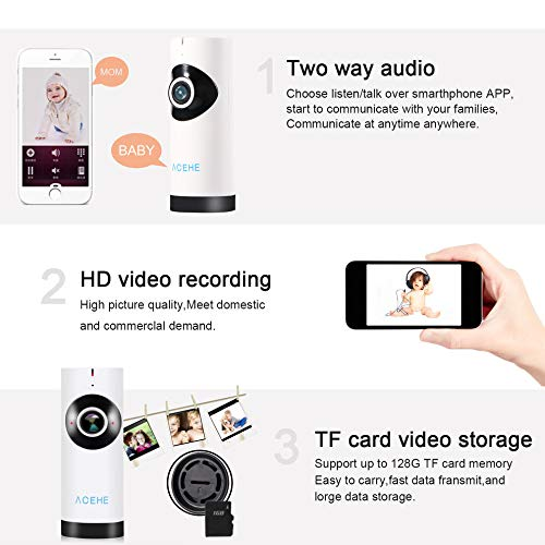 E.I.H. Panoramic Mini Baby Monitor ACEHE Wireless Camera Panoramic Mini Baby Monitor 720P HD Surveillance IP/Network/WiFi Security Camera with Night Vision by E.I.H. (Image #4)