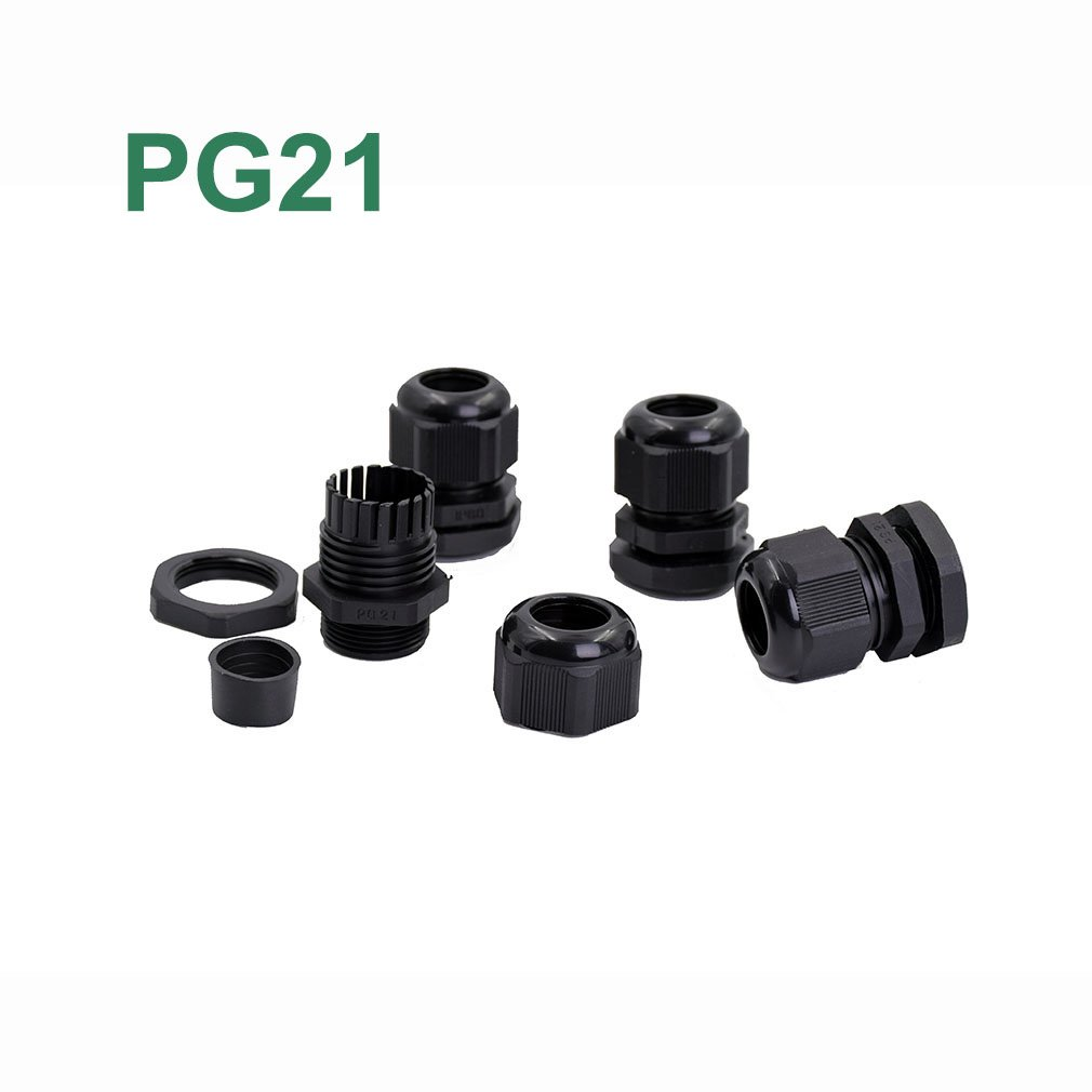 50pcs/lot PG21 Waterproof Cable Gland Connector Black Adjustable IP68 M28 Plastic Cable Gland with Locknut For 13-18mm Wire