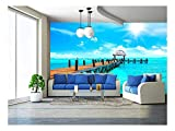 wall26 - Exotic Caribbean Island. Tropical Beach Resort. Travel or Vacations Concept - Removable Wall Mural | Self-Adhesive Large Wallpaper - 100x144 inches