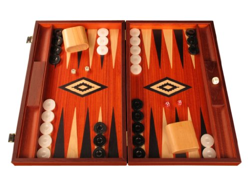 Padauk Wooden Backgammon Set - Large Board - Padauk Wood Field