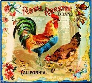 MAGNET Riverside Royal Rooster Brand Chickens Orange Citrus Fruit Crate Magnet Art Print