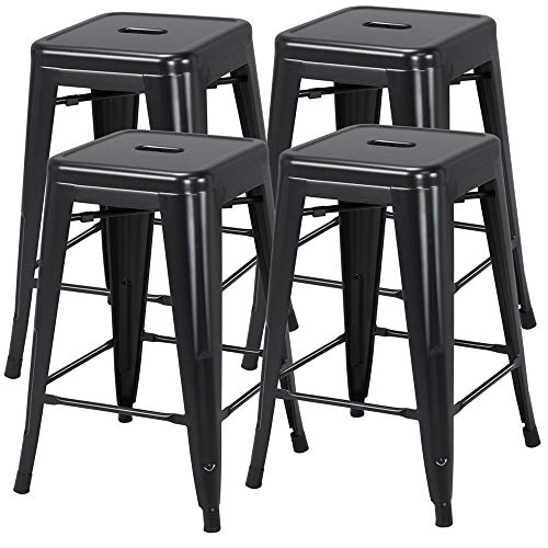 Yaheetech 24inch Metal Bar stools Set of 4 Counter Height Kitchen Barstools Modern Industrial Backless Stackable Metal Chairs with Square Seat Indoor/Outdoor Black (Set Counter)