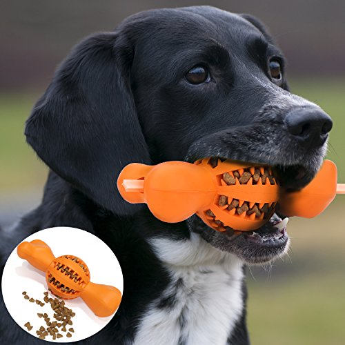 hot sale 2017 Dog IQ Treat Ball and Chew Toy, Durable Non-Toxic Bone-Shaped Rubber Dental Chewing Biting Pet Toy