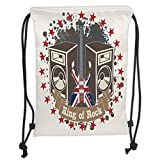 Best UNIQUE BARGAINS Electric Jacks - Custom Printed Drawstring Sack Backpacks Bags,Popstar Party,King Rock Review