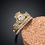 Sumanee Wedding Jewelry Gold Plated Crystal Crown Ring Rhinestone (9)