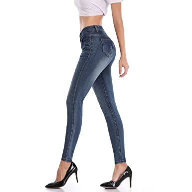 302f58c714d4 LYSHION Women Jeans, Pencil Denim Pants Ripped Distressed Cut Sexy Jeans  Girl's Skinny Cotton Pants