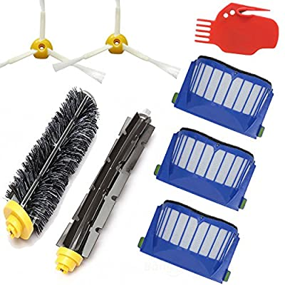 Smartide Kit for irobot Roomba 585 595 600 610 620 630 650 660 Vacuum Cleaner Replacement - Includes 3 Pc Filter, 2pcs 3-arm Side Brush, and 1 Pc Bristle Brush and Flexible Beater Brush, Cleaning Tool