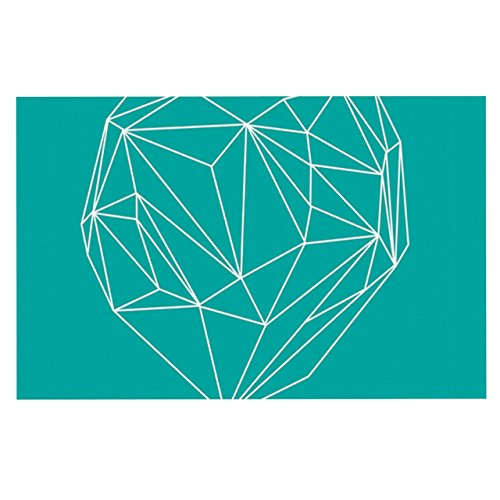 Kess InHouse Mareike Boehmer Heart Graphic Turquoise Teal Abstract Feeding Mat for Pet Bowl, 24 by 15-Inch by Kess InHouse (Image #1)