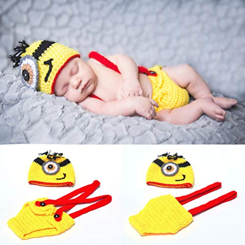 Fashion Newborn Crochet Baby Boy Despicable Me Hat Outfit Minion Costume Photo Props -