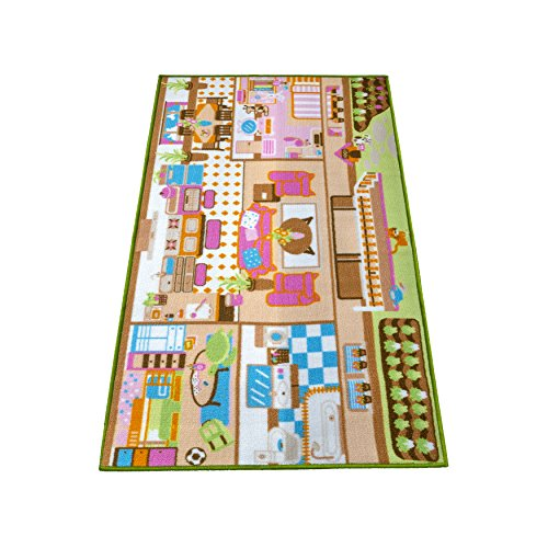 Kids Carpet Playmat Rug Play Time! Fun House Great For Playing With Dolls Mini People Figures Cars, Toys - Learn Educational Play Safe & Have Fun - Children Play Mat,Play Game Area Includes 3D Rooms! by Nessie Playground (Image #1)