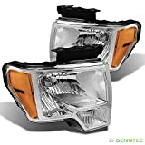 09 ford f150 headlights - For 2009-2014 F150 Chrome Headlights w/Amber Reflector Front Lamps Direct Pair Left+Right/2010 2011 2012 2013