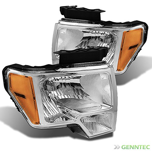 Ford Headlight Assembly (For 2009-2014 F150 Chrome Headlights w/Amber Reflector Front Lamps Direct Pair Left+Right/2010 2011 2012 2013)